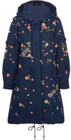 Needle & Thread Dragonfly Garden Hooded Embellished Embroidered Denim Parka - Dark denim
