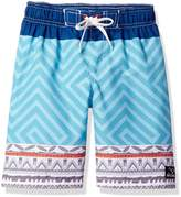 Big Chill Big Boys Tribal GEO Color Block Swim Trunk Rashguard
