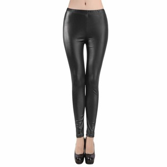 LRWEY Sexy Womens Faux Leather High Waisted Leggings Slim Fit Trousers Black PU Leather Leggings Wet Look Stretch Pants Skinny Jeggings