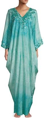 Natori Embellished Silk & Cotton-Blend Caftan