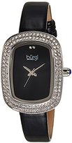 Burgi Women's BUR111SSB Crystal Accented Silver Swiss Quartz Watch with Black Dial and Black Leather Strap