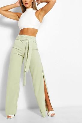 boohoo Side Split Belted Wide Leg Trouser
