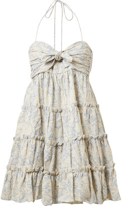 Zimmermann Helm Tiered Printed Linen And Cotton-blend Mini Dress