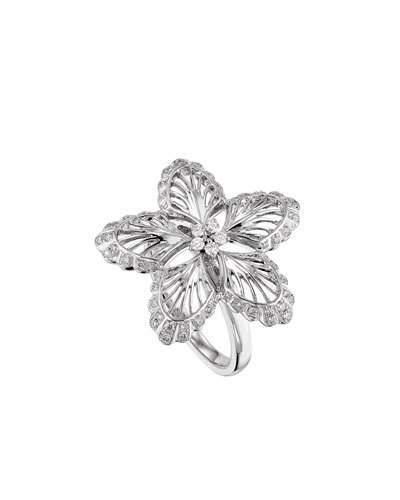 Lalique 18K White Gold Lys Diamond Ring, Size 8