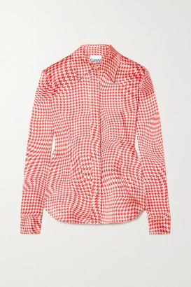 Ganni Houndstooth Silk-blend Satin Shirt - Red