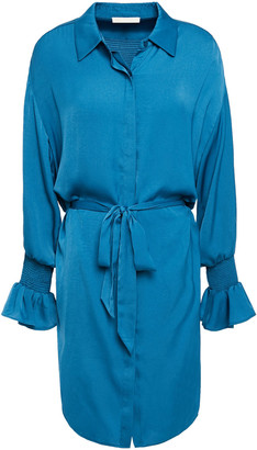 Maje Rebano Belted Shirred Satin Mini Shirt Dress