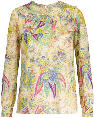 Etro Paisley and floral ramie blouse