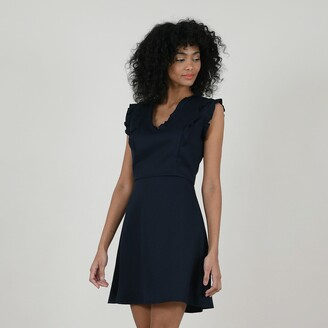 Molly Bracken A-Line Mini Dress with Short Ruffled Sleeves and V-Neck