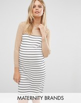Asos Knitted Dress in Stripe with Color Block