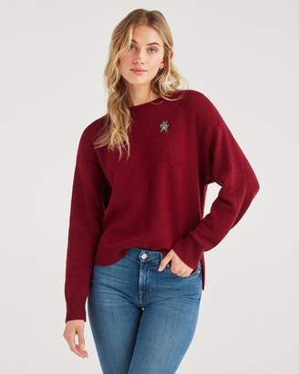7 For All Mankind Step Hem Pullover with Teddy Embellishment in Oxblood
