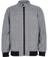 River Island Boys grey check bomber jacket
