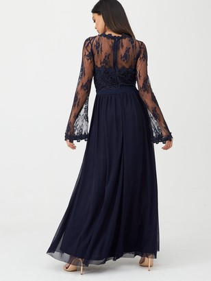 U Collection Forever Unique Lace Top Satin Belt Maxi Dress - Navy