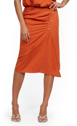 New York & Co. Linen Button-Front Wrap Skirt