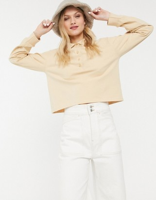 Monki crop rugby shirt in beige