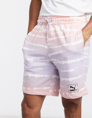 Puma tie dye shorts in lilac