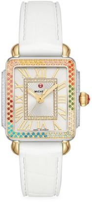 Michele Deco Madison Mid Carousel Two-Tone, Multicolor Topaz & Silicone Strap Watch