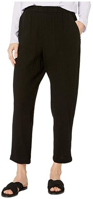 Eileen Fisher Organic Cotton Lofty Gauze Tapered Ankle Pants (Black) Women's Casual Pants
