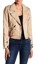 Studded Embroiderd Faux Leather Moto Jacket
