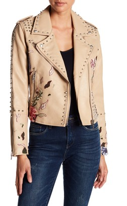 Blanknyc Denim Studded Embroiderd Faux Leather Moto Jacket