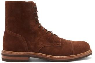 Brunello Cucinelli Lace-up Suede Boots - Dark Brown