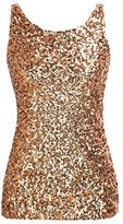 PrettyGuide Women Shimmer Glam Sequin Embellished Sparkle Tank Top Vest Tops US L/Asian XL
