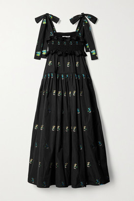 Cecilie Bahnsen Mika Ruffled Embroidered Taffeta Midi Dress - Black