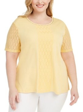 Alfred Dunner Plus Size Classics Lace-Embellished Top