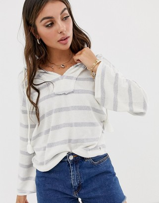Billabong Lazy Palms stripe beach hoodie in multi-White