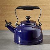 Crate & Barrel Chantal ® Vintage Cobalt Blue Steel Enamel Tea Kettle