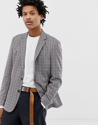 Design DESIGN casual fit slim blazer in orange check