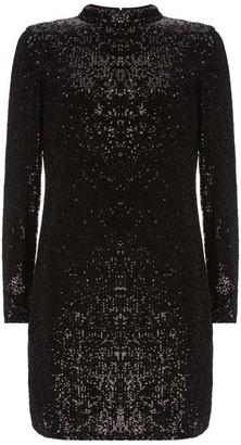 Mint Velvet Black Sequin Mini Dress