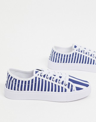 ASOS DESIGN Dizzy lace up trainers in stripe