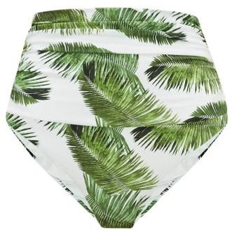 Melissa Odabash Caribe High-rise Palm-print Bikini Briefs - Womens - White Print