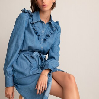 La Redoute Collections Denim Mini Shirt Dress with Ruffles and Tie-Waist