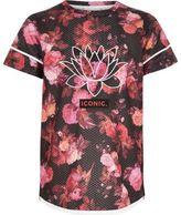 River Island Girls pink floral mesh sports T-shirt
