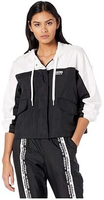 adidas Logo Tape Windbreaker (White/Black) Women's Clothing