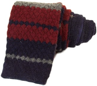 40 Colori Burgundy Striped Wool & Cashmere Knitted Tie