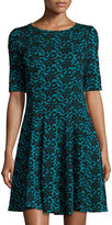 Gabby Skye Jacquard Fit-and-Flare Dress, Teal/Black