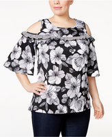 NY Collection Plus Size Floral-Print Cold-Shoulder Top