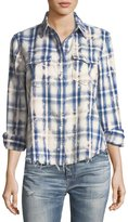 AG Jeans Beth Washed Grid-Print Snap-Front Cotton Shirt
