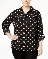 NY Collection Petite Plus Size Utility Blouse, Created for Macy's