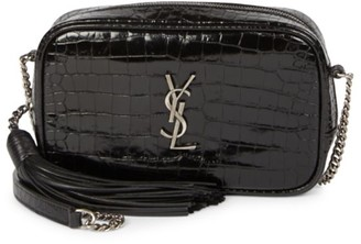 Saint Laurent Mini Lou Croc-Embossed Patent Leather Camera Bag