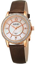 August Steiner Women's Quartz Stainless Steel and Leather Casual Watch, Color:Brown (Model: AS8227BR)