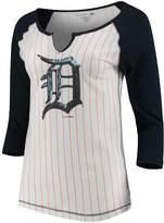 New Era Women's 5th & Ocean by White/Navy Detroit Tigers Pinstripe 3/4-Sleeve Notch Neck Raglan T-Shirt