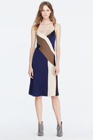 Diane von Furstenberg Frederica Embellished Colorblock Slip Dress