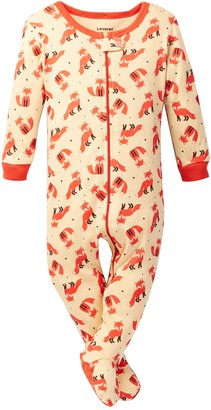 Leveret Fox Print Footed Pajama (Baby Boys & Toddler)