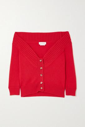 Alexander McQueen - Off-the-shoulder Cashmere Cardigan - Red