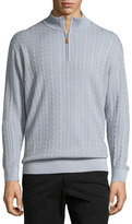 Robert Talbott Washed-Cable Mock-Neck Sweater, Blue