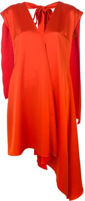 MSGM Cape Detail Asymmetric-Hem Dress