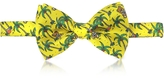Moschino Yellow Palms and Teddy Bears Printed Twill Silk Pre Tied Bow Tie